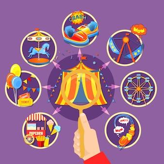 Ilustración de vector de colección de parque de atracciones
