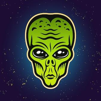 Ilustración de vector de color de cabeza verde alienígena sobre fondo degradado