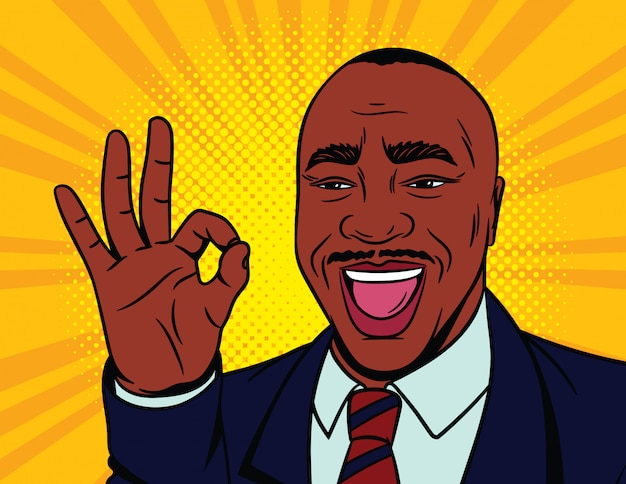 Ilustración de vector de color en estilo cómic pop art. rostro masculino feliz con un cartel aprobado. hombre afroamericano muestra su acuerdo con un gesto