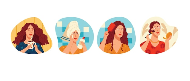 Ilustración de vector de color en estilo plano. colección de pegatinas aisladas sobre fondo blanco. rutina matutina de la mujer. la niña está tomando café y maquillando. la mujer se cuida.