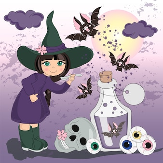 Ilustración de vector de color de halloween establece mi halloween