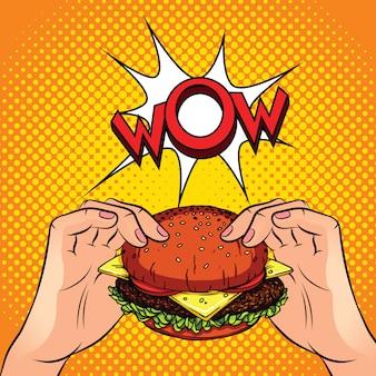 Ilustración de vector de color hamburguesa en las manos. hamburguesa en un amarillo