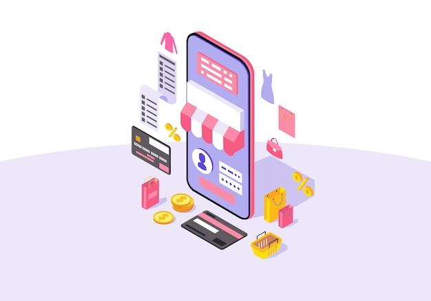 Ilustración de vector de color isométrico de aplicación de compras móviles en línea