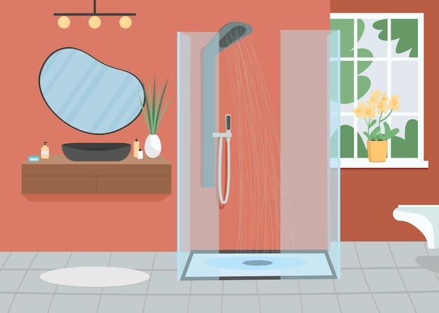 Ilustración de vector de color plano de baño casero. ducharse con agua corriente. rutina diaria. lavado para la higiene, la limpieza interior de dibujos animados 2d de la habitación del apartamento con muebles en el fondo