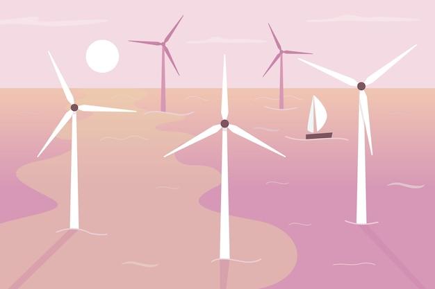 Ilustración de vector de color plano de turbinas eólicas flotantes. aportando energía renovable. solución ecológica. paisaje de dibujos animados en 2d de ubicación en aguas poco profundas con turbinas giratorias y puesta de sol en el fondo