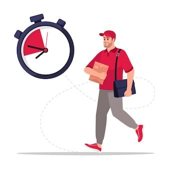 Ilustración de vector de color rgb semi plano de entrega de correo rápido. cartero. cronómetro para envío urgente. mensajero masculino caucásico en personaje de dibujos animados aislado uniforme rojo sobre fondo blanco