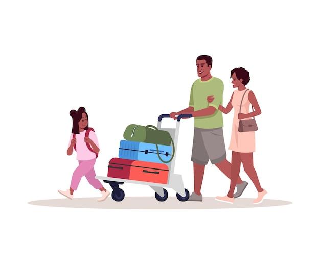 Ilustración de vector de color rgb semi plano de llegada al aeropuerto. los padres con hija llevan equipaje. familia afroamericana ir de vacaciones. pasajeros personajes de dibujos animados aislados sobre fondo blanco