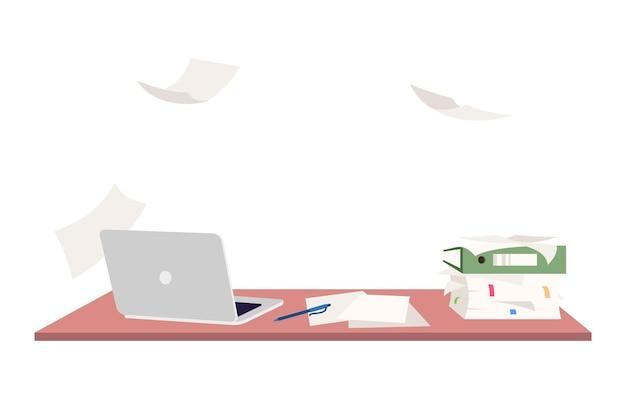 Ilustración de vector de color rgb semi plano de lugar de trabajo vacío. escritorio de oficina sobrecargado sin gente aislada composición de dibujos animados sobre fondo blanco. espacio de trabajo personal desorganizado con empleado ausente