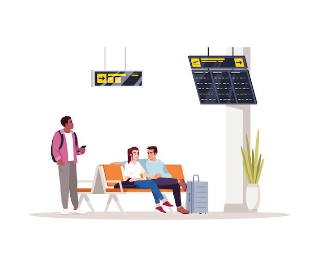 Ilustración de vector de color rgb semi plano de sala de espera. personas antes del vuelo en el vestíbulo del aeropuerto. asiento de mujer y hombre en salón. los pasajeros del avión aislaron personajes de dibujos animados sobre fondo blanco.