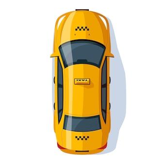 Ilustración de vector de color rgb semi plano de servicio de taxi. transporte público. viaje con auto a la ubicación. vehículo urbano para pasajeros. vista superior del objeto de dibujos animados aislado sedán amarillo sobre fondo blanco