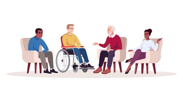 Ilustración de vector de color rgb semi plano de sesión de psicoterapia grupal. cita con psicólogos. asesoramiento. grupo de apoyo. consulta de psicología. personaje de dibujos animados aislado sobre fondo blanco.