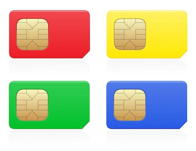 Ilustración de vector de color de tarjeta sim