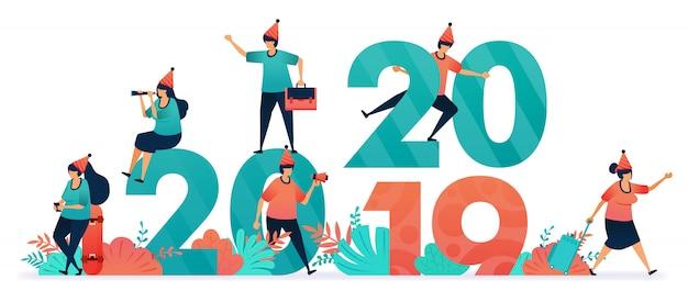Ilustración de vector de comenzar una fiesta de fin de año y navidad