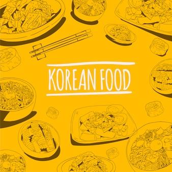 Ilustración de vector de comida callejera coreana doodle