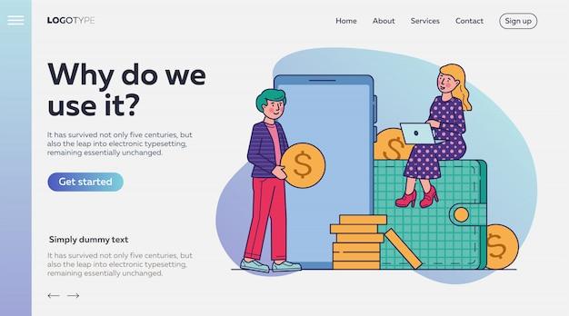 Ilustración de vector de compras en línea de mercado de comercio electrónico