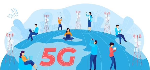 Ilustración de vector de comunicación de internet 5g. dibujos animados de personajes de usuario de hombre mujer plana con dispositivos móviles que se comunican, utilizando tecnología inalámbrica de red 5g