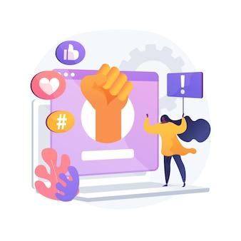 Ilustración de vector de concepto abstracto de activismo en línea. activismo en internet, comunicación digital, publicación en redes sociales, entrega de información, público objetivo, metáfora abstracta de marketing de hashtag.