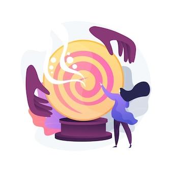 Ilustración de vector de concepto abstracto de adivinación. adivino en línea, servicios de lectura de tarot, predicción del futuro de la bola de cristal, especialista en numerología, metáfora abstracta de práctica quirurgica.