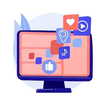 Ilustración de vector de concepto abstracto de agregador de contenido. software agregador, mejor contenido multimedia en un solo lugar, textos seleccionados para reventa, herramientas de agregación, metáfora abstracta del modelo de negocio.