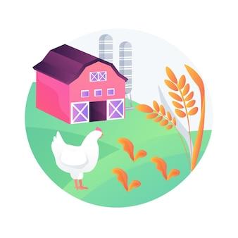 Ilustración de vector de concepto abstracto de agricultura sostenible. proceso de cultivo, sistema alimentario sostenible, cultivo orientado a la ecología, recursos naturales, regeneración del suelo, metáfora abstracta de riego.