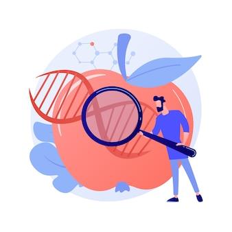 Ilustración de vector de concepto abstracto de alimentos genéticamente modificados. organismo genéticamente modificado, industria alimentaria transgénica, producto biotecnológico, problema de salud, seguridad nutricional, metáfora abstracta de riesgo de enfermedad.