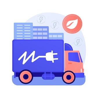 Ilustración de vector de concepto abstracto de camiones eléctricos. logística ecológica, transporte moderno, motor eléctrico, camión a batería, metáfora abstracta de vehículo de entrega de carga sostenible.