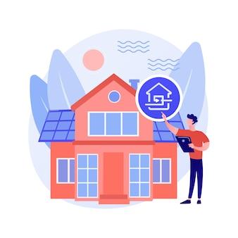 Ilustración de vector de concepto abstracto de casa pasiva. estándares de casa pasiva, eficiencia de calefacción, reducción de la huella ecológica, tecnología de ahorro de energía, metáfora abstracta de hogar sostenible.