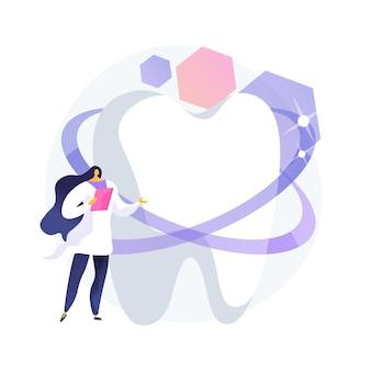 Ilustración de vector de concepto abstracto de clínica de estética dental. servicio dental cosmético, tratamiento estético dental, odontología privada, clínica médica de belleza, metáfora abstracta de estudio de tratamiento de sonrisa.