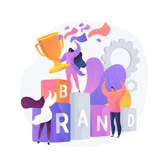 Ilustración de vector de concepto abstracto de competencia de marca. evento competitivo de marketing, concurso patrocinado por la empresa, identidad de marca, campaña de medios de cambio de marca, metáfora abstracta de publicidad digital.