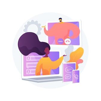 Ilustración de vector de concepto abstracto de comunicación unificada. plataforma de comunicaciones empresariales, interfaz de usuario unificada consistente, marco para la metáfora abstracta de integración de audio y video en tiempo real.