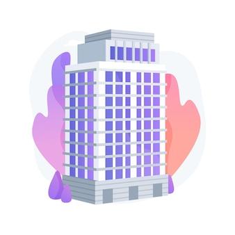 Ilustración de vector de concepto abstracto de condominio. residencia privada en un complejo de edificios, administración de condominios, hogar de propiedad del propietario, metáfora abstracta de apartamento de casa de varios pisos.
