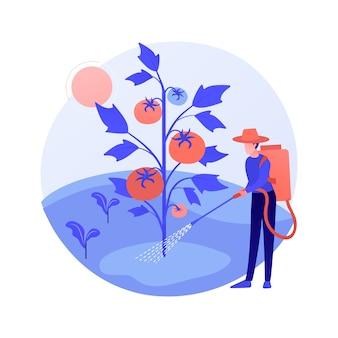 Ilustración de vector de concepto abstracto de control de malezas. mantenimiento de jardinería, control de plagas, productos químicos en aerosol, herbicida, servicio de cuidado del césped, metáfora abstracta de herbicidas y pesticidas.
