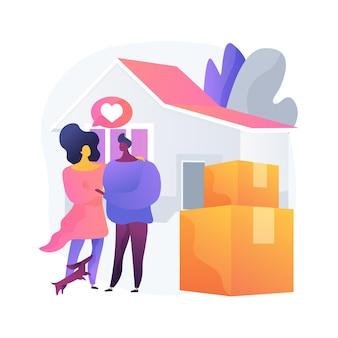 Ilustración de vector de concepto abstracto de convivencia. vivir juntos, acuerdo de convivencia, relación de derecho consuetudinario, pareja encantadora, compañero de cuarto de la universidad, moverse juntos metáfora abstracta.