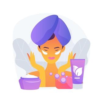 Ilustración de vector de concepto abstracto de cuidado de la piel. terapia de la piel, producto cosmético verde, loción para el cuidado del cuerpo, crema facial, aceite sérico, limpieza e hidratación facial, metáfora abstracta de tratamiento de spa.
