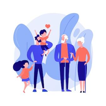 Ilustración de vector de concepto abstracto descendiente. línea de ancestros, descendencia de personas, nieto nieta, relaciones de generaciones, abuelo feliz, metáfora abstracta de familia unida.