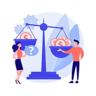 Ilustración de vector de concepto abstracto de discriminación de género. sexismo, roles y estereotipos de género, desigualdad en el lugar de trabajo, habilidades y capacidades, derechos de la mujer, metáfora abstracta del mercado laboral.