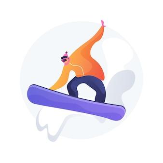 Ilustración de vector de concepto abstracto de embarque. deporte de invierno, actividad al aire libre, casco y gafas de snowboard, vacaciones en la montaña, deportes extremos, esquí alpino, ciclista de estilo libre, metáfora abstracta de nieve.