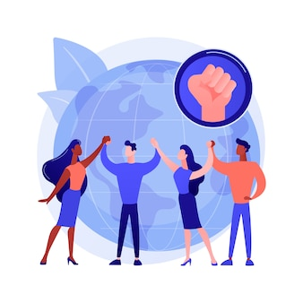 Ilustración de vector de concepto abstracto de empoderamiento juvenil. los niños y jóvenes se hacen cargo, actúan, mejoran la calidad de vida, construcción de la democracia, activismo juvenil, metáfora abstracta de participación.