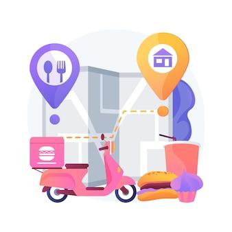 Ilustración de vector de concepto abstracto de entrega de alimentos. envío de productos durante el coronavirus, compras seguras, servicios de autoaislamiento, pedidos en línea, quedarse en casa, metáfora abstracta de distanciamiento social.