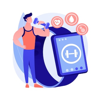 Ilustración de vector de concepto abstracto de entrenamiento inteligente. programas y herramientas de entrenamiento inteligente en línea, nueva tecnología de gimnasio, aplicación de entrenamiento físico, mejora la salud, pérdida de grasa, metáfora abstracta tonificante.