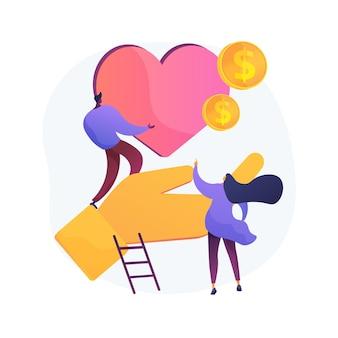 Ilustración de vector de concepto abstracto de filantropía. iniciativa privada, generosidad, fondo de donación, obsequio monetario, apoyo financiero, resolución de problema público, metáfora abstracta de filantropía social.
