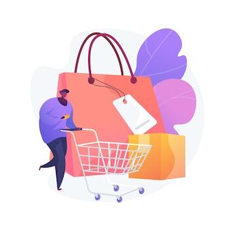 Ilustración de vector de concepto abstracto de hábitos de compra. generar hábito de consumo, investigación de mercados, preferencia de compra de los millennials, compras, metáfora abstracta de comportamiento de compra habitual.