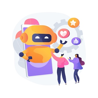Ilustración de vector de concepto abstracto de influencer virtual. influencer marketing, servicio de agencia digital, personaje virtual, persona generada por computadora, redes sociales, metáfora abstracta de avatar de marca.