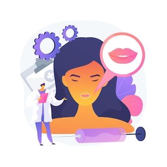 Ilustración de vector de concepto abstracto de inyecciones de labios. procedimiento cosmético de relleno, método de labios gruesos, ácido hialurónico, mejora la apariencia, inyección de plástico facial, metáfora abstracta de toxina botulínica.