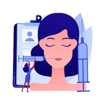 Ilustración de vector de concepto abstracto de inyecciones de labios. procedimiento cosmético de relleno, método de labios regordetes, ácido hialurónico, mejora la apariencia, inyección de plástico facial, metáfora abstracta de toxina botulínica.