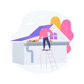 Ilustración de vector de concepto abstracto de limpieza de canal. mantenimiento del hogar, azoteas, empresas de construcción, reparación de techos, lavado a presión, eliminación de hojas y musgo, tubería de bajante, metáfora abstracta de otoño.