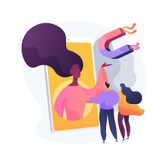 Ilustración de vector de concepto abstracto de marketing de boca en boca. publicidad boca a boca, estrategia de recomendaciones, influencer de redes sociales, ventas de referencia, metáfora abstracta de lealtad a la marca.