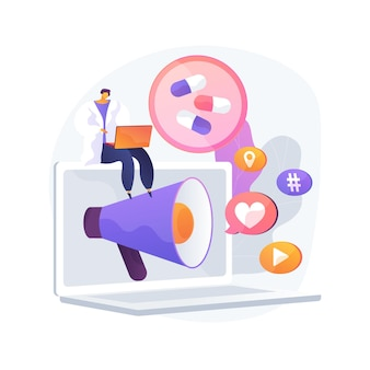 Ilustración de vector de concepto abstracto de marketing farmacéutico. agencia digital farmacéutica, estrategia de marketing de medicamentos, publicidad de medicamentos, mercado de equipos médicos, metáfora abstracta de promoción.