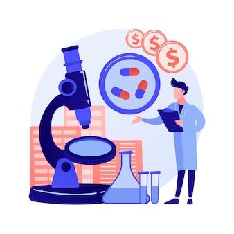 Ilustración de vector de concepto abstracto de negocio farmacológico. industria farmacológica, negocio farmacéutico, investigación y producción de medicamentos, red de farmacias, metáfora abstracta de corporaciones.