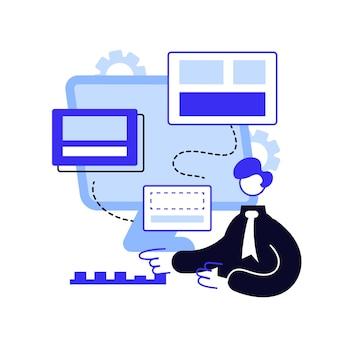Ilustración de vector de concepto abstracto de optimización de copia. texto web, algoritmo de optimización de instantáneas, negocios en línea, aumento del tráfico, palabras clave objetivo, metáfora abstracta del método de escritura seo.